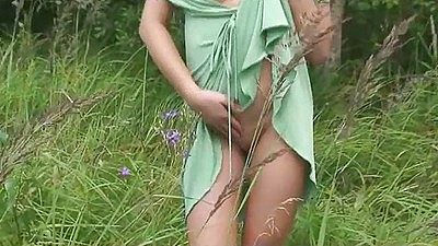 Undressing a sexy euro slut gf in the tall grass