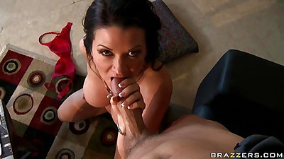 Blowjob from a big tis milf and then between her tits