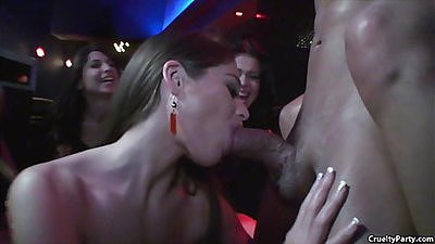 Male stripper gets forced into a sexual out with females