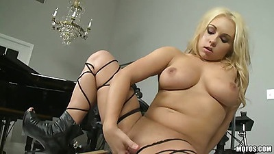 Alone solo busty babe touching her own shaved pussy