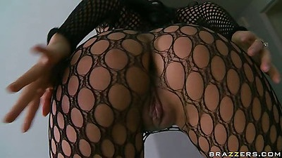 Naked babe in fishnets with a pussy opening spreads