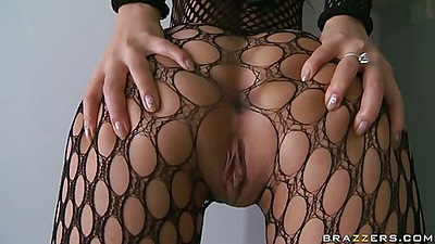 Asa spreading her fishnets ass and showing pussy