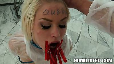 Teen ash hollywood with hands tied behind back