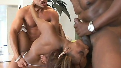 Ebony Marco Banderas fucked in a threesome and loves it