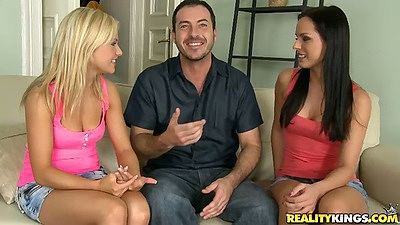 Two euro babes with Bella Baby gather around for threesome
