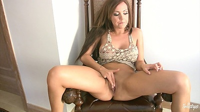 Solo masturbation with Harley Kent reaching up her dress