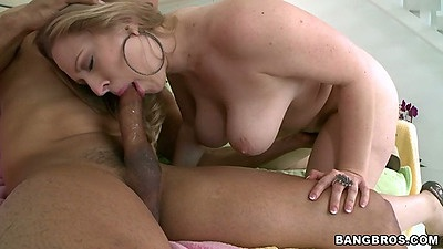 Big natural tits milf Vicky Vixen sucking cock with titty fucking