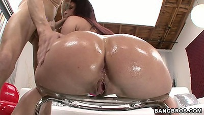 Ass in oil from Tiffany Mynx with blowjob and titty fuck