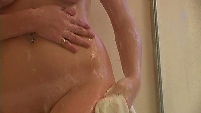 Busty natural babe having a nice wet shower solo