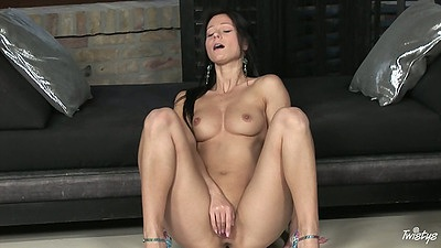 Athletic euro girl Melisa Mendiny plays with her shaved pussy naked alone