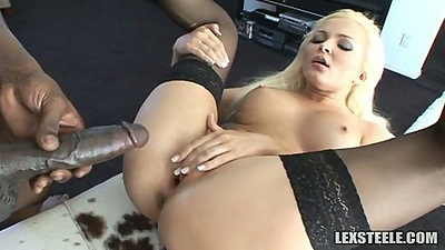 Fat black cock entering white pussy slut Jenna Lovely  with blowjob