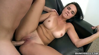 Front penetration with trimmed pussy Dillon Harper on the audition couch