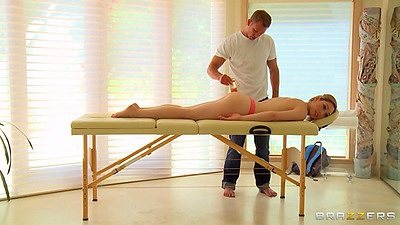 Oil massage with Lily Lebeau relaxing on massage table