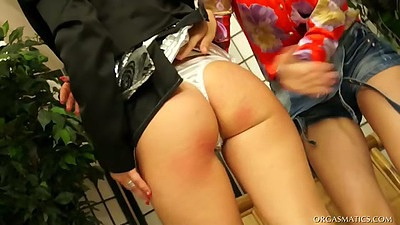 Nice ass under the mini skirt with two lesbian bitches