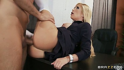 Milf Tasha Reign fucked in the office on the desk with legs up