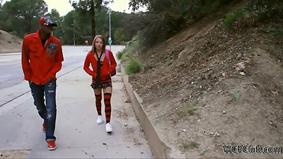 Young teen Alyssa Branch talking a walk on the street in school uniform picked up