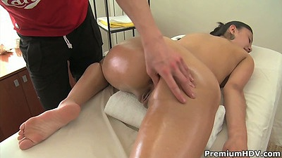 Teen Slevie gets an oil massage and pussy touched