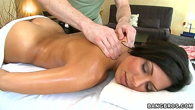 Oil massage with Rachel Starr enjoying a rub down