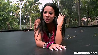 Brunette latina Luna Star outdoor enjoying the sun