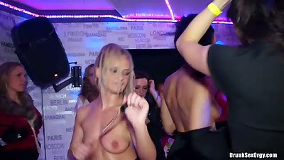 Dancing amateur club goers half naked with sex