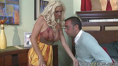 Big its milf on the bed getting a british student to fuck her