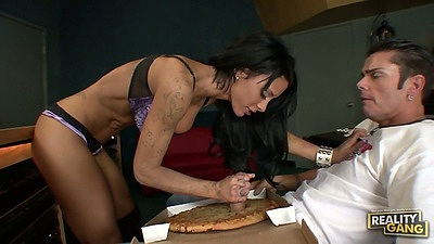 Mya Nichole pizza handjob and blowjob in her bra and underwear