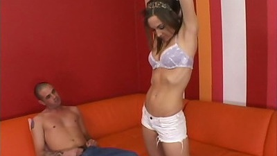 Bras and panties teen Kiera King stripping down during audition