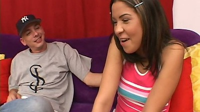 Cute fully clothed teen Celina Cross gets touched and a little shy during audition