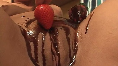 Chocolate on pussy with a strawberry with Jame Spice