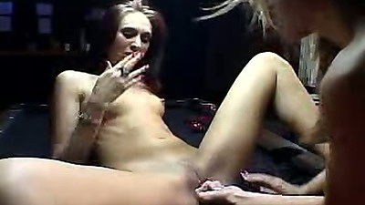 Lesbian  stripper strip club make out on table
