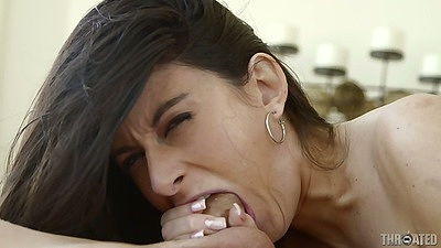 Deep throat with barely fitting in mouth cock from Nikki Daniels