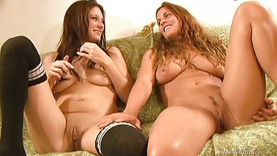 Two lesbian chicks Tabatha Tucker and Silky Thumper share dick for handjob